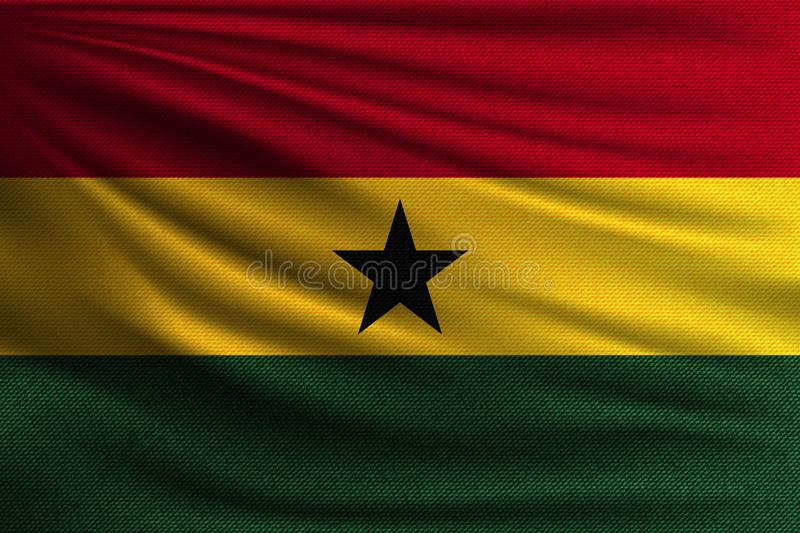 The national flag. Of Ghana. The symbol of the state on wavy cotton fabric. Realistic vector illustration vector illustration