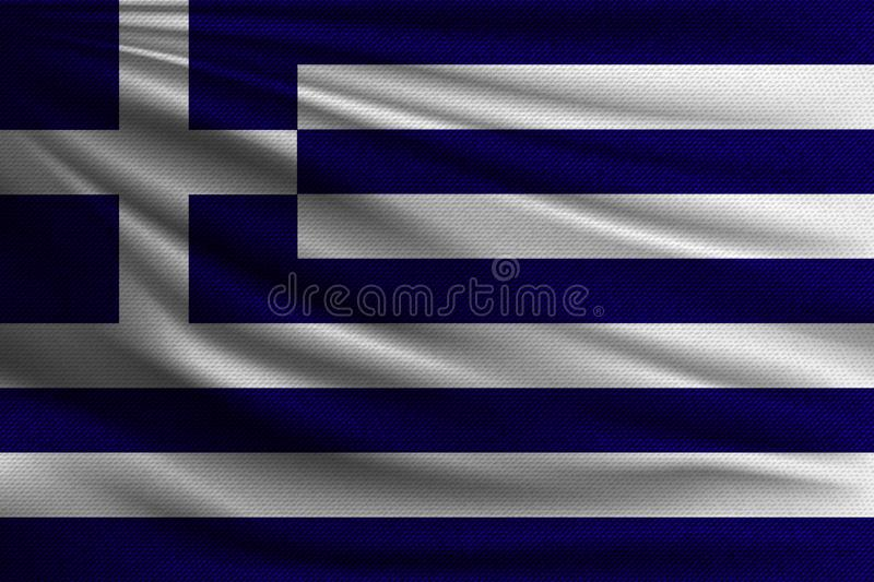 The national flag. Of Greece. The symbol of the state on wavy cotton fabric. Realistic vector illustration stock illustration