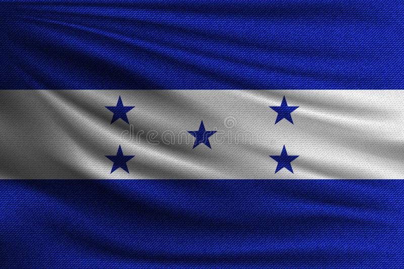 The national flag. Of Honduras. The symbol of the state on wavy cotton fabric. Realistic vector illustration royalty free illustration
