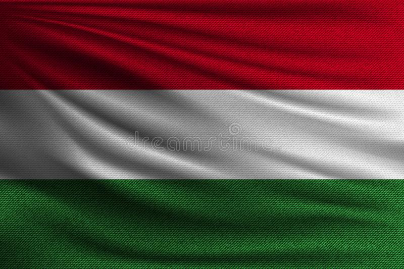 The national flag. Of Hungary. The symbol of the state on wavy cotton fabric. Realistic vector illustration stock illustration
