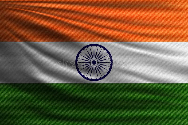 The national flag. Of India. The symbol of the state on wavy cotton fabric. Realistic vector illustration royalty free illustration