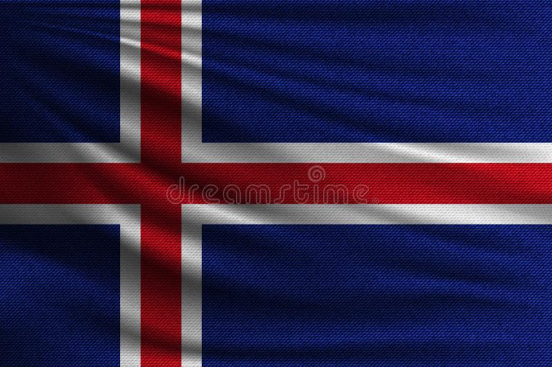 The national flag. Of Iceland. The symbol of the state on wavy cotton fabric. Realistic vector illustration royalty free illustration