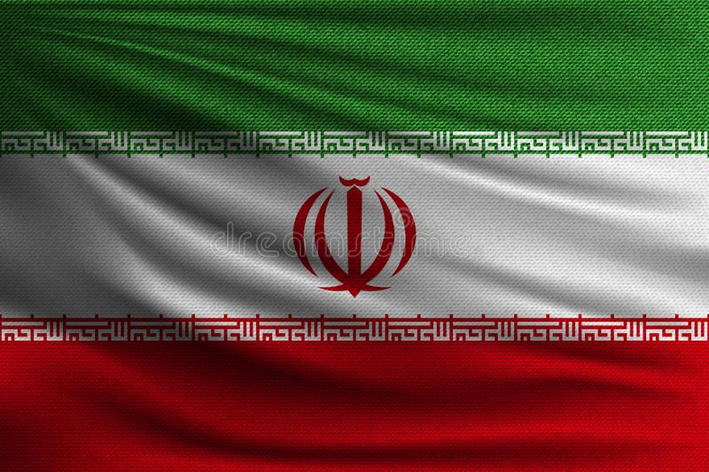 The national flag. Of Iran. The symbol of the state on wavy cotton fabric. Realistic vector illustration royalty free illustration