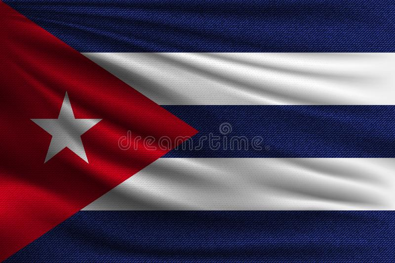 The national flag. Of Cuba. The symbol of the state on wavy cotton fabric. Realistic vector illustration vector illustration