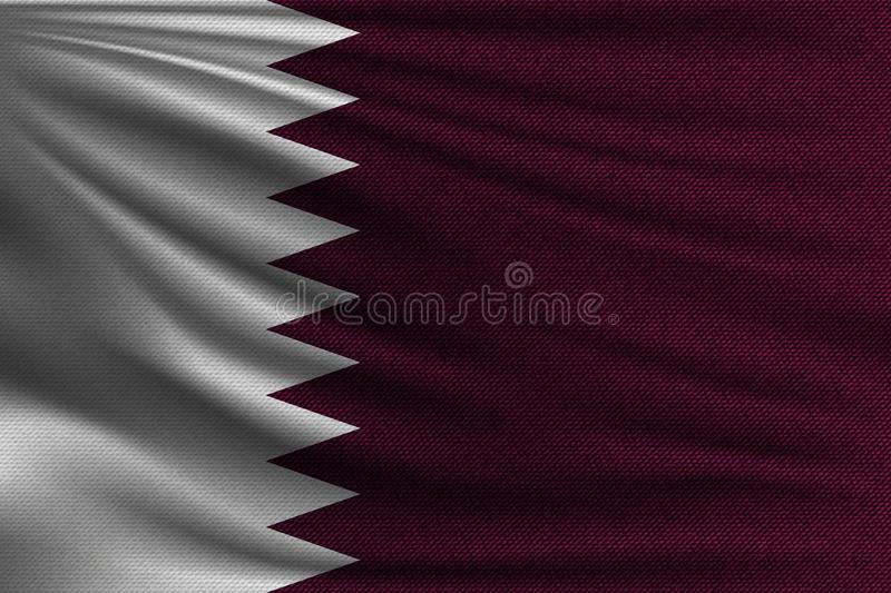 The national flag. Of Qatar. The symbol of the state on wavy cotton fabric. Realistic vector illustration stock illustration