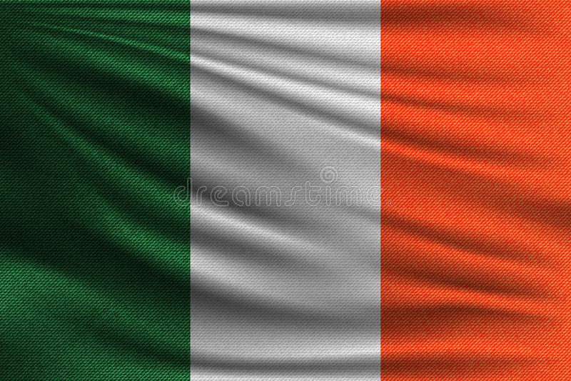 The national flag. Of Ireland. The symbol of the state on wavy cotton fabric. Realistic vector illustration royalty free illustration