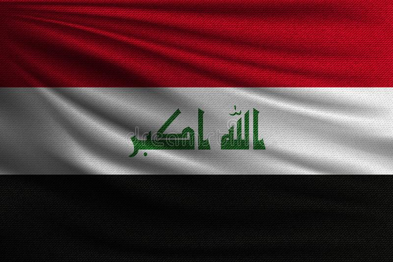 The national flag. Of Iraq. The symbol of the state on wavy cotton fabric. Realistic vector illustration stock illustration