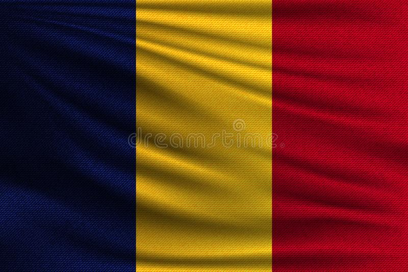The national flag. Of Romania. The symbol of the state on wavy cotton fabric. Realistic vector illustration stock illustration