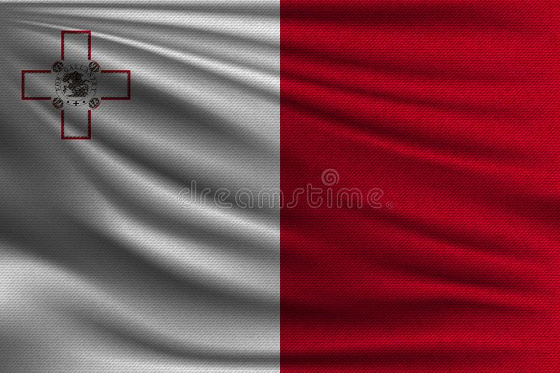 The national flag. Of Malta. The symbol of the state on wavy cotton fabric. Realistic vector illustration royalty free illustration