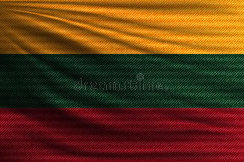 The national flag. Of Lithuania. The symbol of the state on wavy cotton fabric. Realistic vector illustration vector illustration