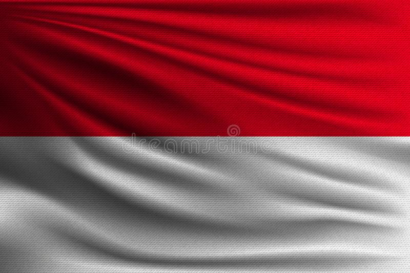 The national flag. Of Indonesia and Monaco. The symbol of the state on wavy cotton fabric. Realistic vector illustration stock illustration