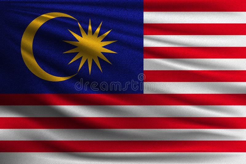 The national flag. Of Malaysia. The symbol of the state on wavy cotton fabric. Realistic vector illustration stock illustration