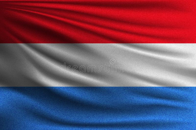 The national flag. Of Luxembourg. The symbol of the state on wavy cotton fabric. Realistic vector illustration vector illustration