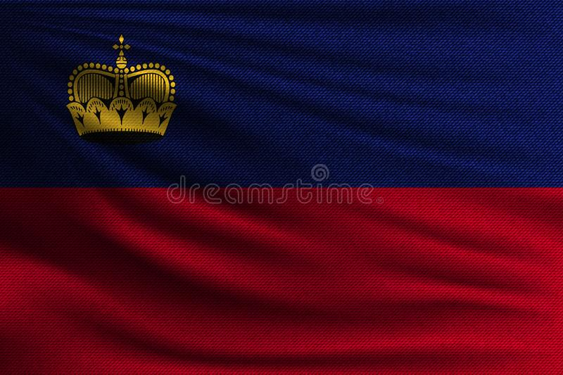 The national flag. Of Liechtenstein. The symbol of the state on wavy cotton fabric. Realistic vector illustration royalty free illustration