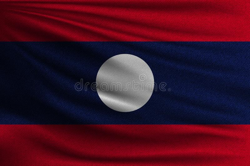 The national flag. Of Laos. The symbol of the state on wavy cotton fabric. Realistic vector illustration stock illustration