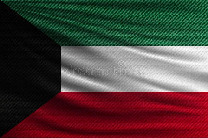 The national flag. Of Kuwait. The symbol of the state on wavy cotton fabric. Realistic vector illustration stock illustration