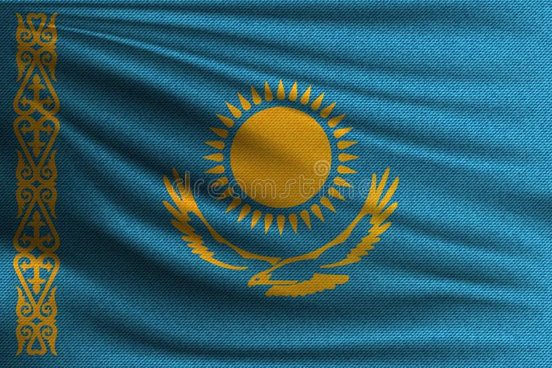 The national flag. Of Kazakhstan. The symbol of the state on wavy cotton fabric. Realistic vector illustration vector illustration