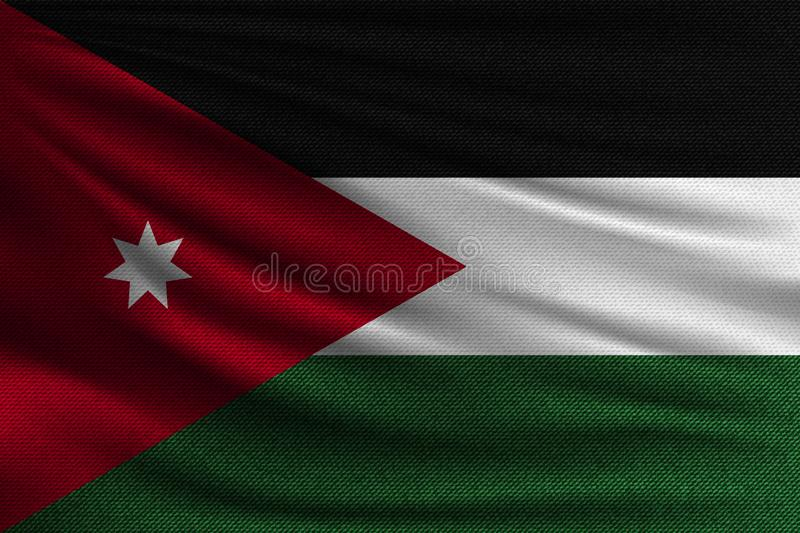 The national flag. Of Jordan. The symbol of the state on wavy cotton fabric. Realistic vector illustration royalty free illustration