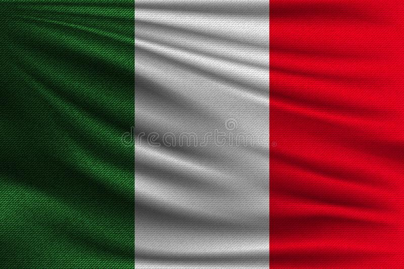 The national flag. Of Italy. The symbol of the state on wavy cotton fabric. Realistic vector illustration royalty free illustration