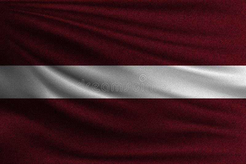 The national flag. Of Latvia. The symbol of the state on wavy cotton fabric. Realistic vector illustration stock illustration