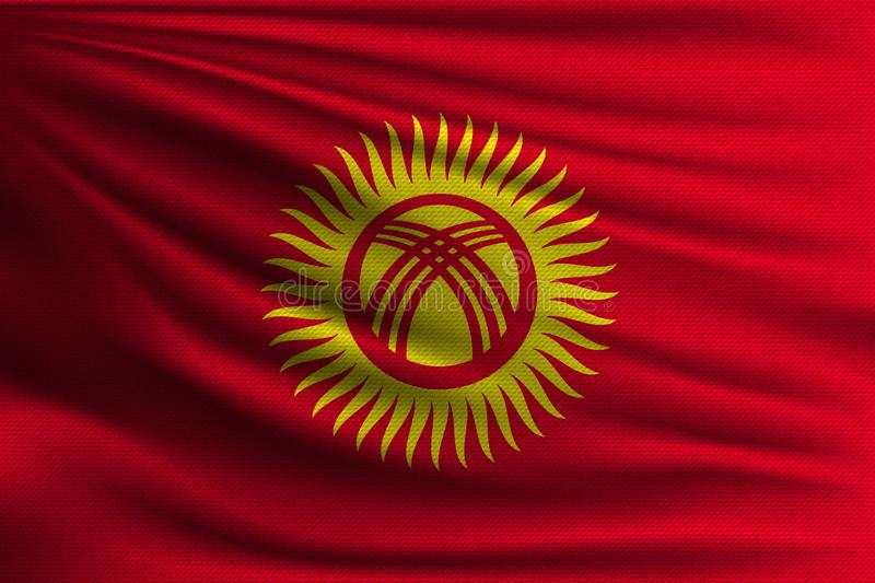 The national flag. Of Kyrgyzstan. The symbol of the state on wavy cotton fabric. Realistic vector illustration royalty free illustration