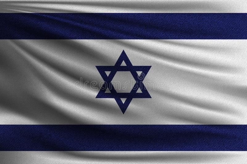 The national flag. Of Israel. The symbol of the state on wavy cotton fabric. Realistic vector illustration stock illustration