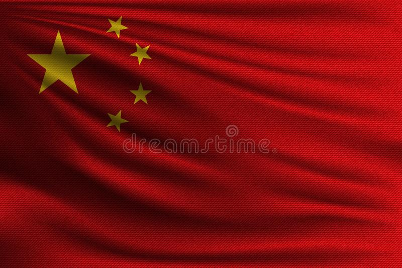 The national flag. Of China. The symbol of the state on wavy cotton fabric. Realistic vector illustration royalty free illustration