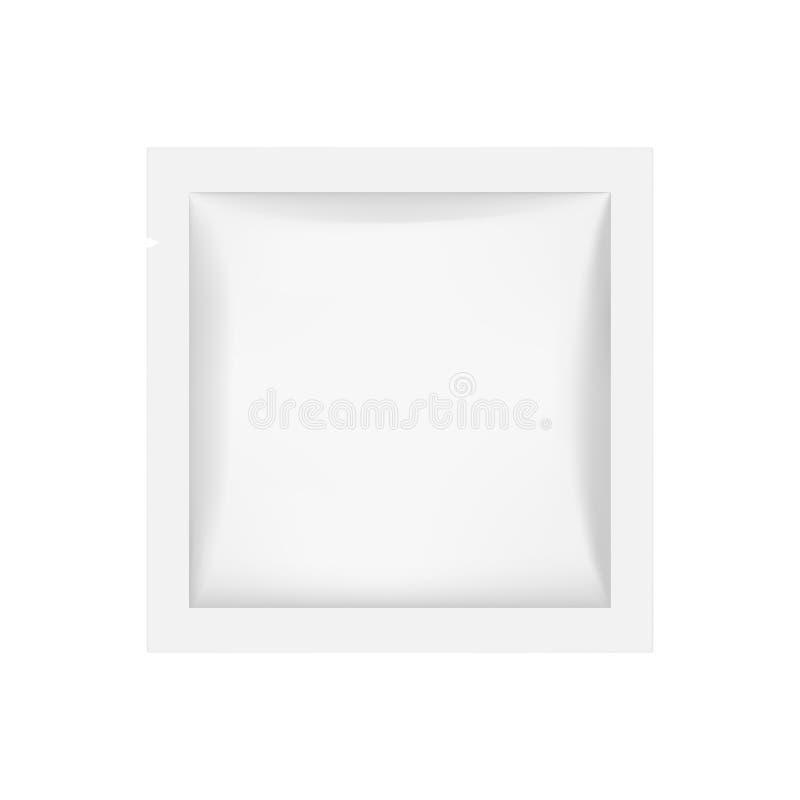 Small square sachet mockup isolated on white background royalty free illustration