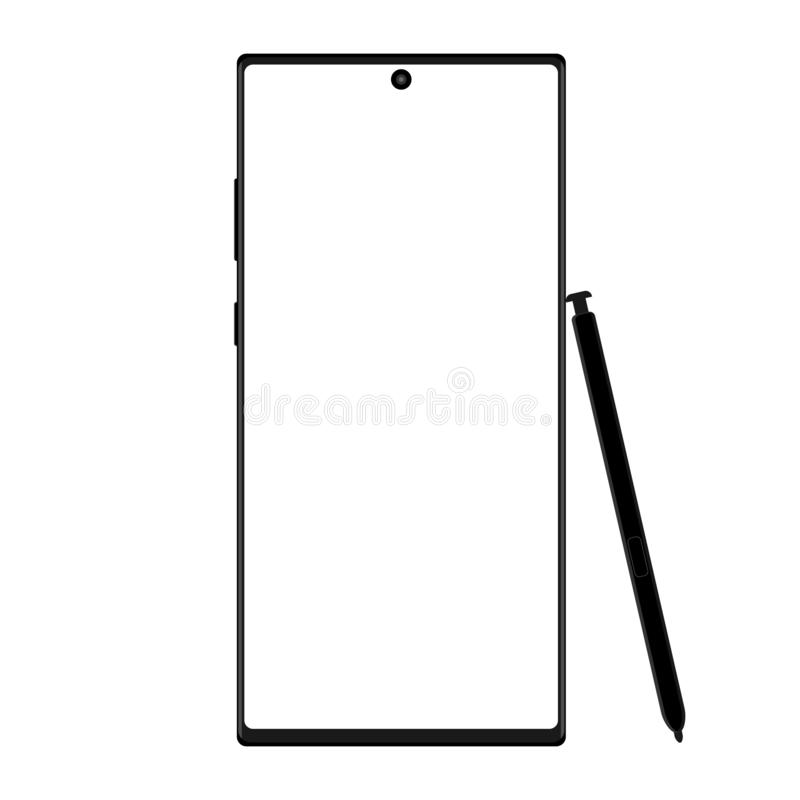 Modern wireframe smartphone with stylus isolated on white background. Vector illustration vector illustration