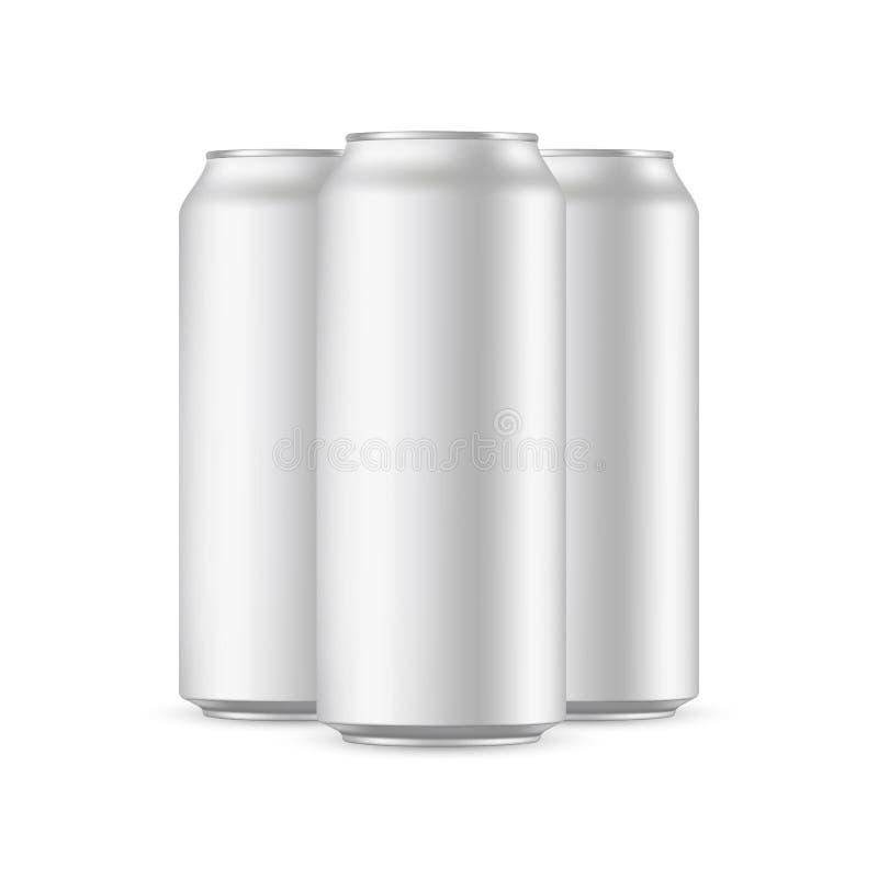 Three aluminium cans mockups isolated royalty free illustration