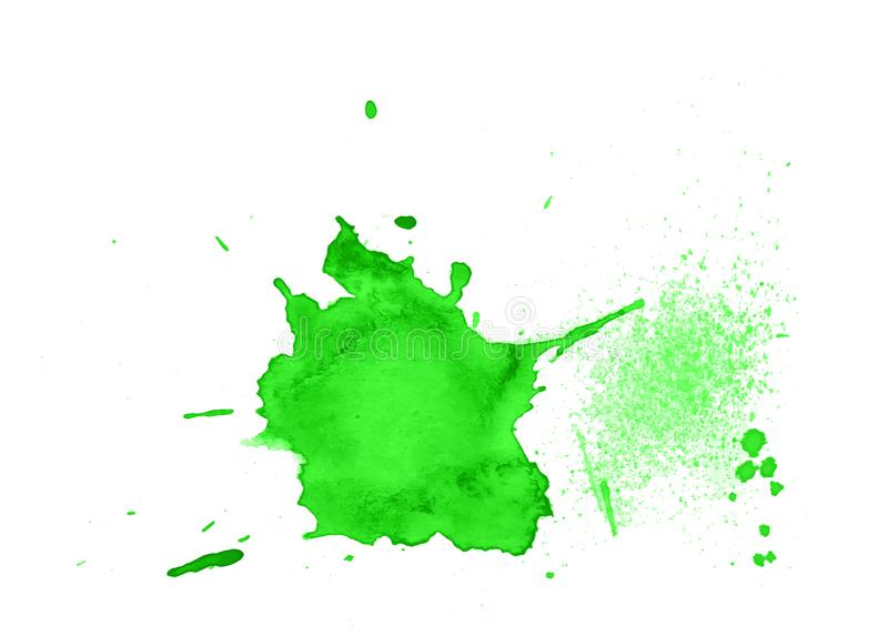Green abstract watercolor texture stain with splashes and spatters. royalty free stock photo