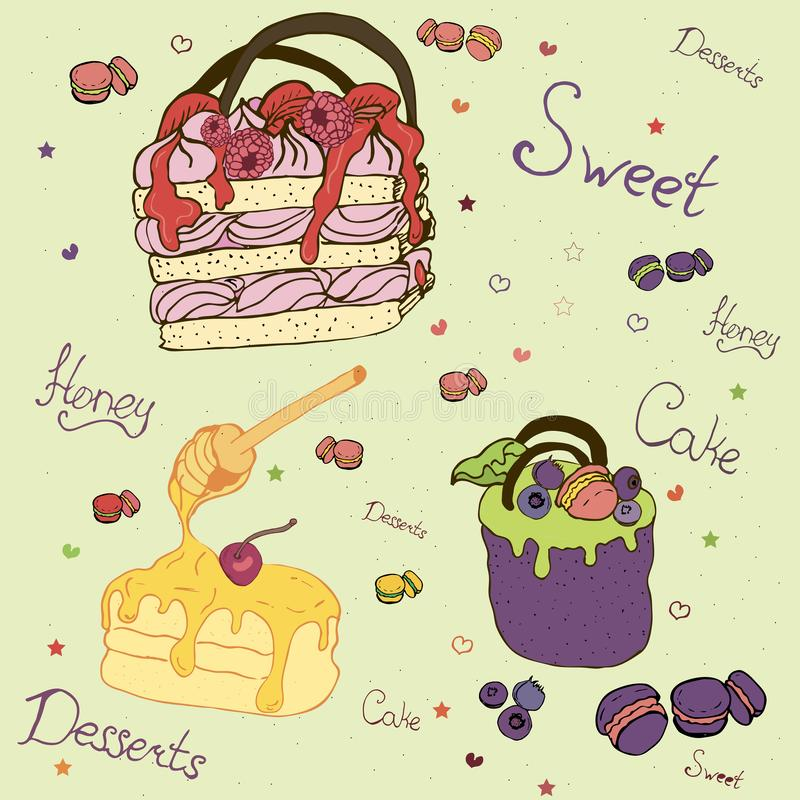 Cakes and desserts with fruit. Illustration with the image of sweets, cakes and desserts with fruit stock illustration