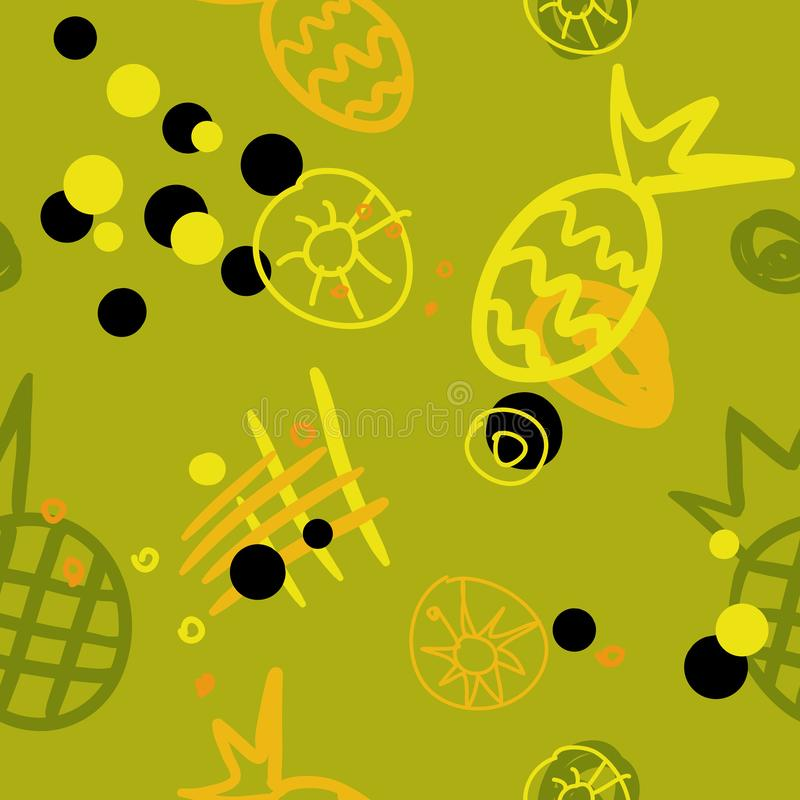 Seamless abstract pattern with pineapples contour royalty free illustration
