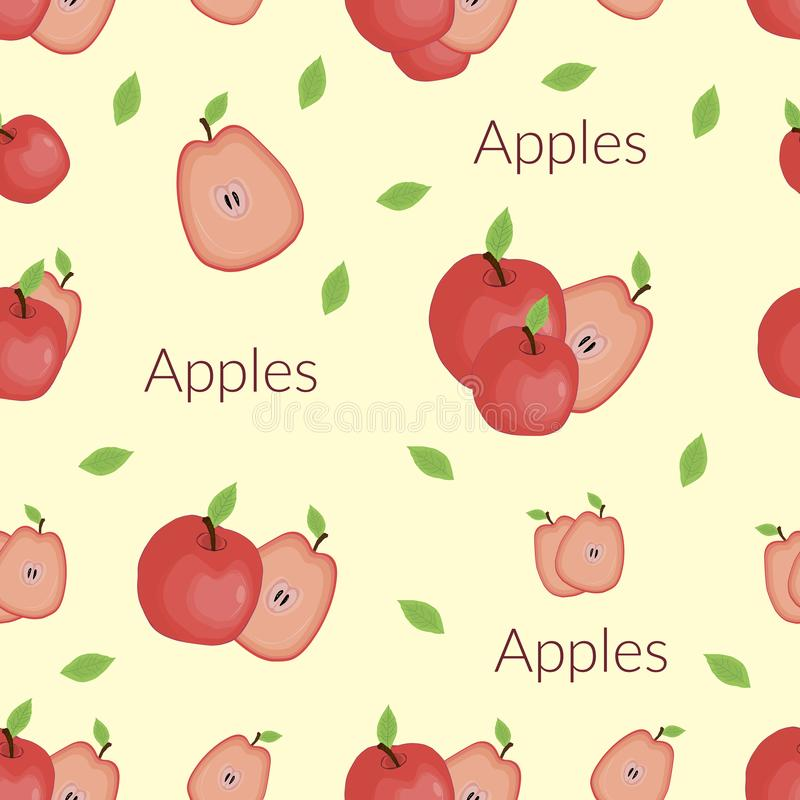 Juicy apples in vintage style, handmade style, cartoon style with typography royalty free illustration