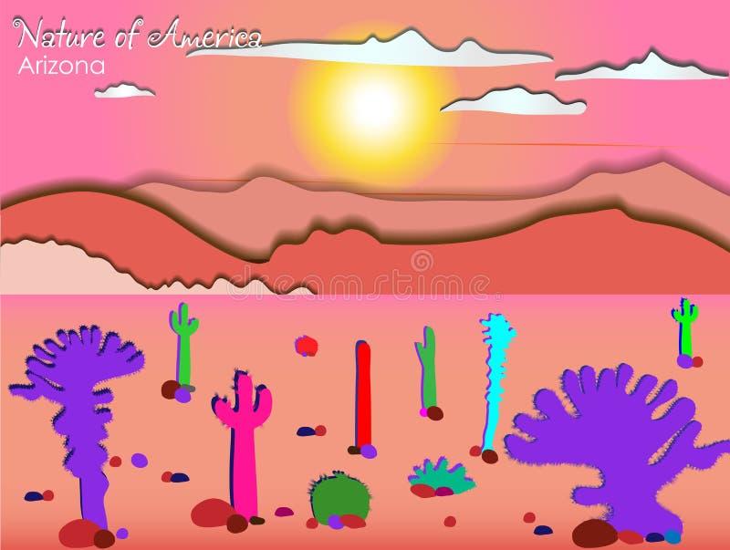 ??? ??Dawn sobre o deserto Desenho do vetor Da natureza da série de América ??????? ilustração stock