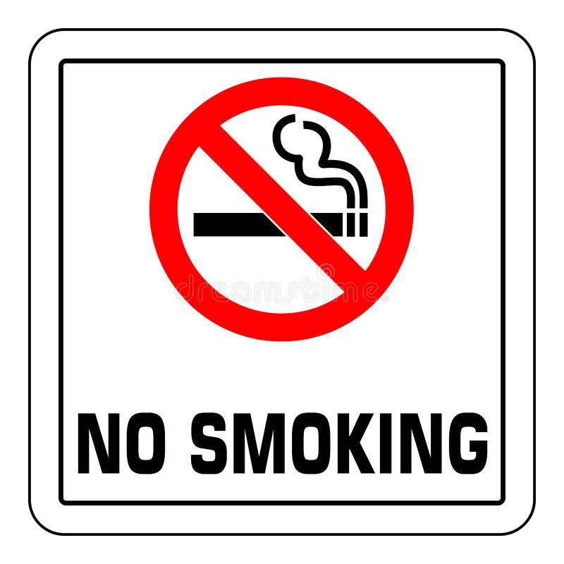 Для некурящих знак Запрещенный значок знака изолированный на белой иллюстрации вектора предпосылки иллюстрация штока