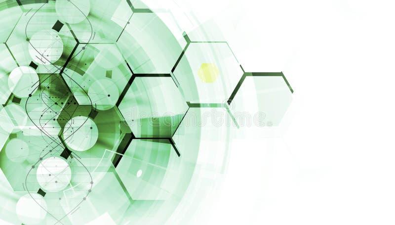 Дна и предпосылка медицинских и технологии футуристическая молекула s иллюстрация вектора