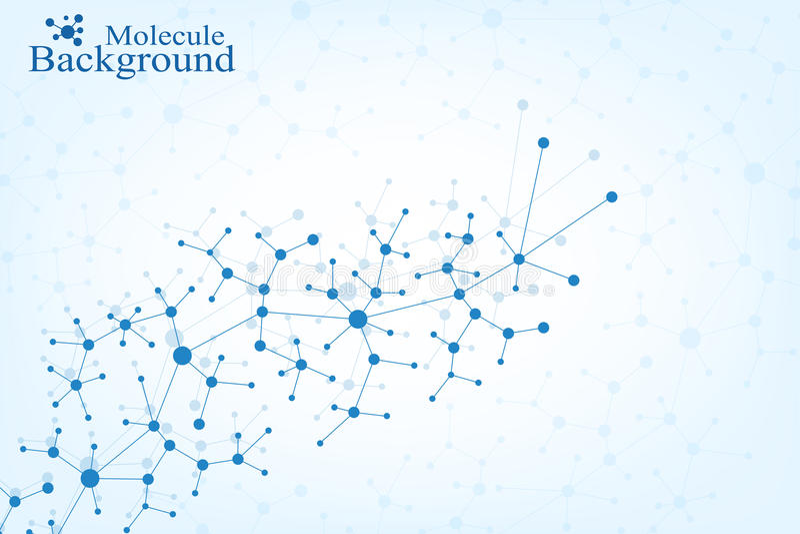Дна структуры молекулы и предпосылка связи Соединенные линии с точками Концепция науки, соединение иллюстрация вектора