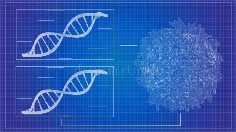 Дна sequencing РИБОНУКЛЕИНОВАЯ КИСЛОТА светокопии sequencing модели дна вычислительные иллюстрация штока