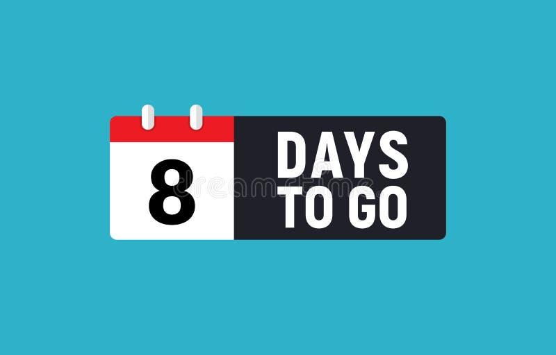 8 дней, который нужно пойти последний значок комплекса предпусковых операций Восьмисуточный идет таймер дела promo предложения пр иллюстрация штока