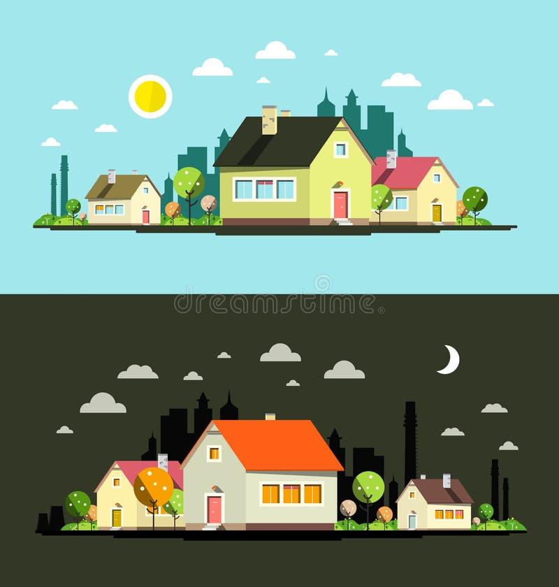 Днем и ночью город дизайна вектора плоский иллюстрация вектора