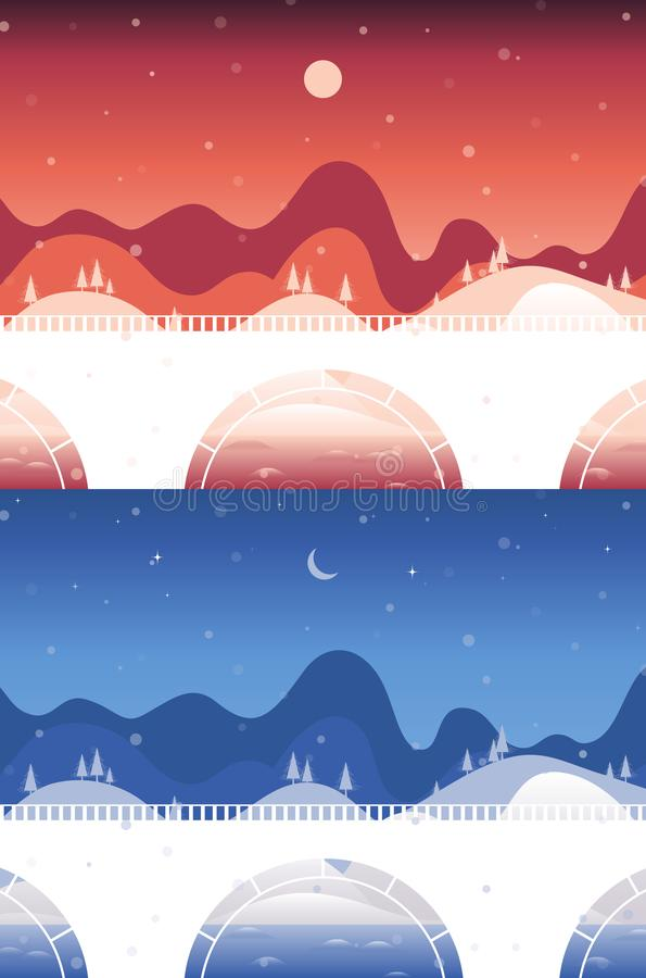 Днем и ночью ландшафты моста и реки иллюстрация штока