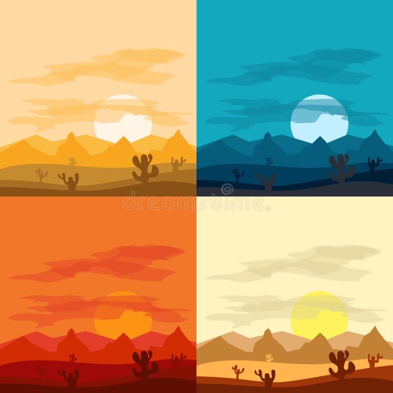 Дни и пустыня ландшафта пустыни на ноче Ландшафты пустыни бесплатная иллюстрация