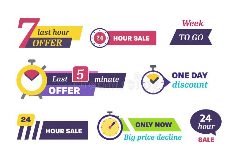 Дни комплекса предпусковых операций продажи выведенные изолированный вектор значка бесплатная иллюстрация
