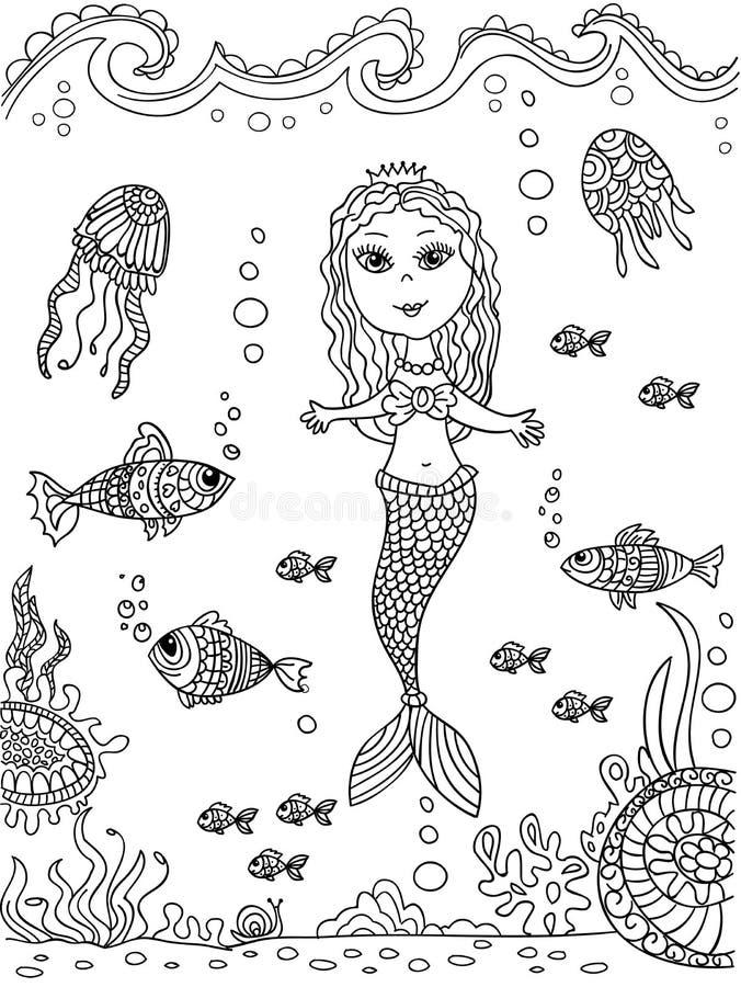 Дно русалки на море иллюстрация вектора