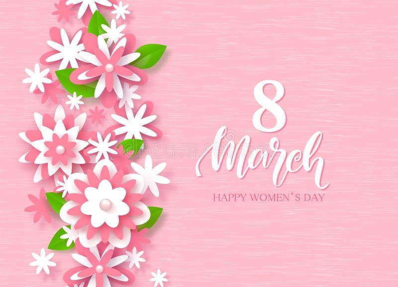 Дня ` s женщин 8-ое марта карточка счастливого праздничная Красивая предпосылка с бумажными цветками также вектор иллюстрации при иллюстрация штока