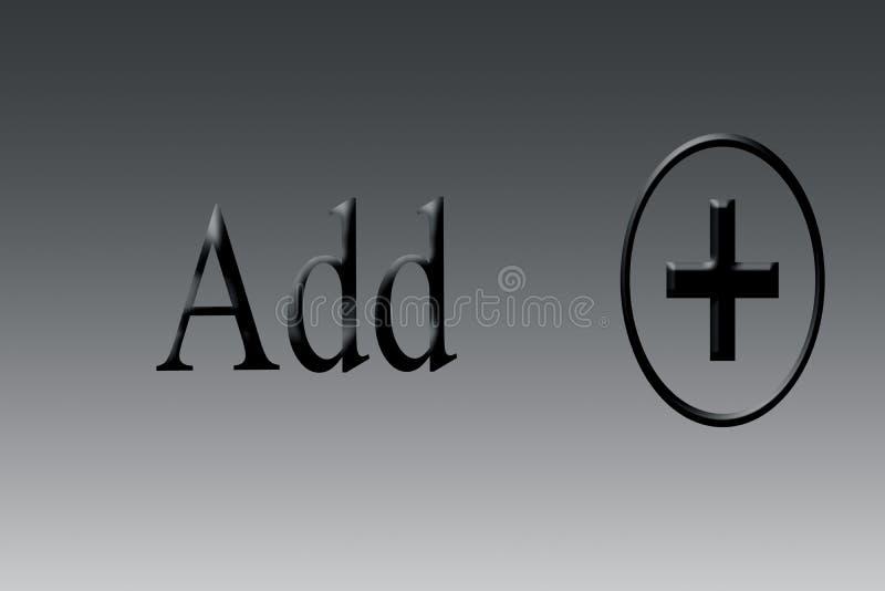 Добавление или добавочные знак или символ или значок на предпосылке с написанный добавляют бесплатная иллюстрация