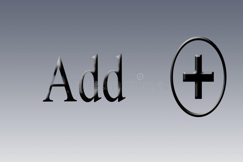Добавление или добавочные знак или символ или значок на предпосылке с написанный добавляют иллюстрация вектора