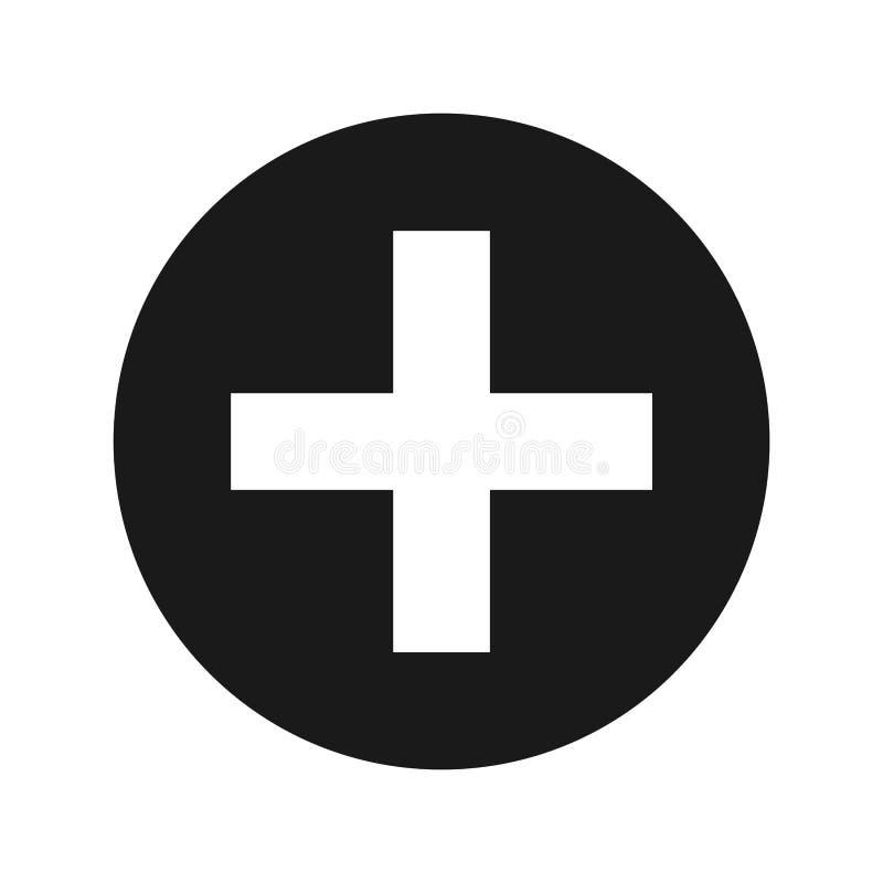 Добавочная иллюстрация вектора кнопки матовой черноты значка круглая иллюстрация штока