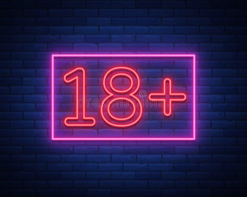 18 добавочное, возрастное ограничение, подписывают внутри неоновый стиль Только для взрослых Неоновая вывеска ночи яркая, символ  иллюстрация вектора